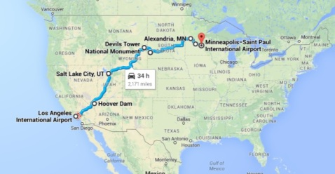 Our trip across the contiguous United States.